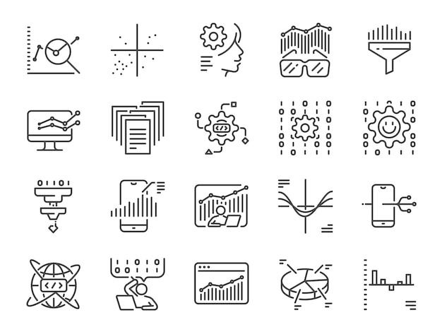Gegevens wetenschap lijn pictogramserie Premium Vector