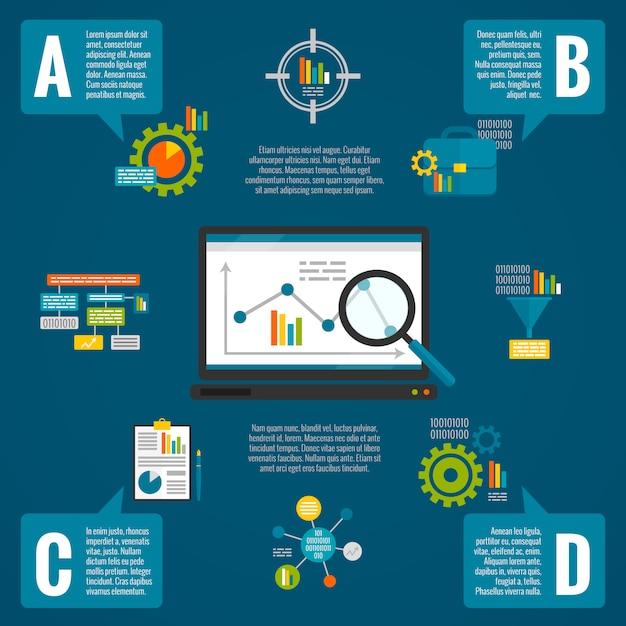 Gegevensanalyse infographic set Gratis Vector