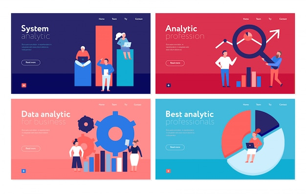 Gegevensanalyse plat kleurrijke banners webpagina met bedrijfsorganisatie analyse systeem geïsoleerd Gratis Vector