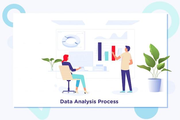 Gegevensanalyse statistieken technologie-informatieconcept Premium Vector