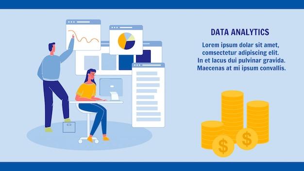 Gegevensanalyse, statistieken webbannersjabloon Premium Vector