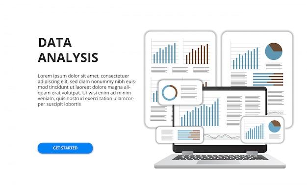 Gegevensanalyse voor het concept van het bedrijfsfinanciënrapport met illustratie van 3d laptop en grafiek Premium Vector