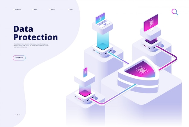 Gegevensbescherming concept. digitale beveiliging kanaal geld beschermen beveiligde toegang internetveiligheid privacy software bestemmingspagina Premium Vector