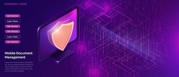 Gegevensbescherming concept, online veiligheidsgarantie Gratis Vector