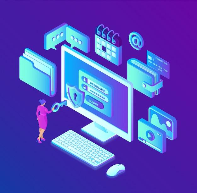 Gegevensbescherming. desktop pc met autorisatieformulier op het scherm, bescherming van persoonsgegevens gegevenstoegang, inlogformulier op laptopscherm. Premium Vector