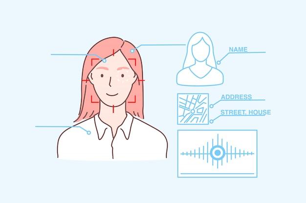 Gegevensbescherming, gezichtsidentificatie, biometrische scan, veiligheidsconcept Premium Vector