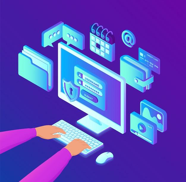 Gegevensbescherming. isometrische desktop pc met autorisatieformulier op het scherm. handen op het toetsenbord. Premium Vector