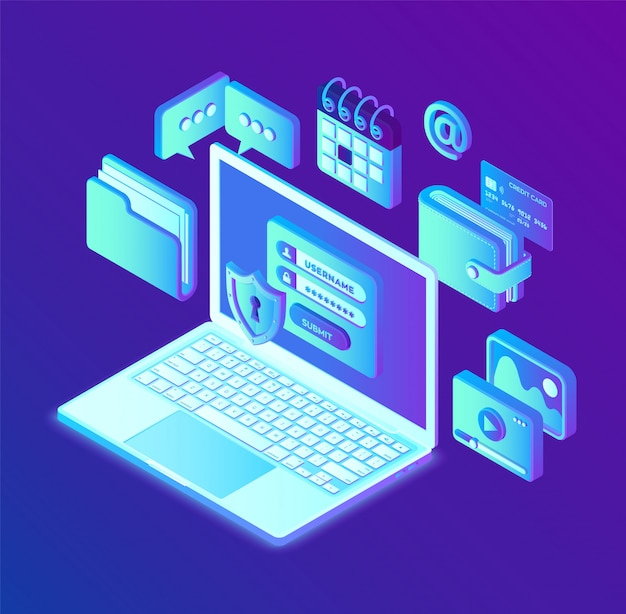 Gegevensbescherming. open laptop met autorisatieformulier op het scherm, bescherming van persoonsgegevens. gegevenstoegang, inlogformulier op laptopscherm. Premium Vector