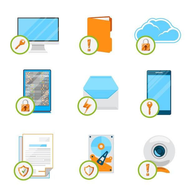 Gegevensbescherming platte pictogramserie. beveiligingsgegevens, computerinternet, cloud en netwerk, beveiligingsapparaat en opslaghardware. Gratis Vector