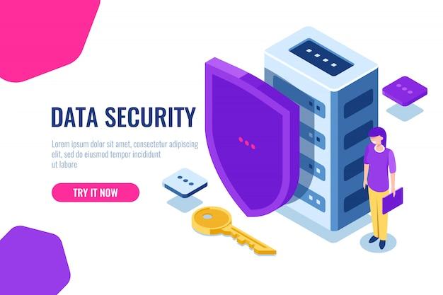 Gegevensbeveiliging isometrisch, databasepictogram met schild en sleutel, gegevensvergrendeling, persoonlijke ondersteuning van veiligheid Gratis Vector