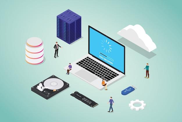 Gegevensherstel uit slechte sector-serverdatabase met wat hardware en tools met teammensen en moderne vlakke stijl isometrisch Premium Vector