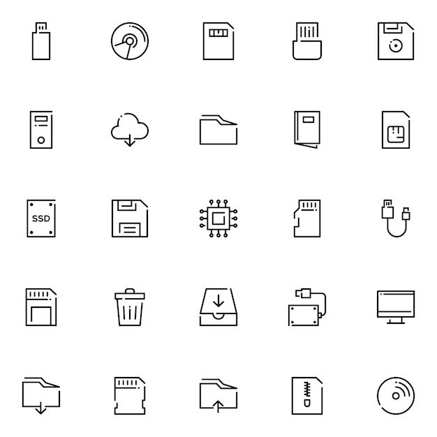 Gegevensopslag icon pack, met overzicht pictogramstijl Premium Vector