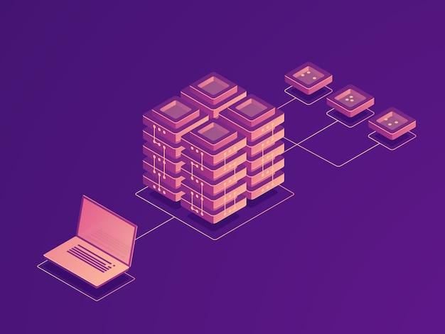 Gegevensopslag in de cloud, routering van internetverkeer, serverruimte, gegevensstroom van laptops, gegevens die op afstand worden geüpload Gratis Vector