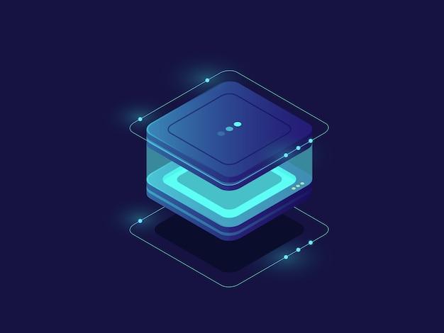 Gegevensopslag, pictogram voor bescherming van persoonlijke gegevens, serverruimte, database en datacenter Gratis Vector