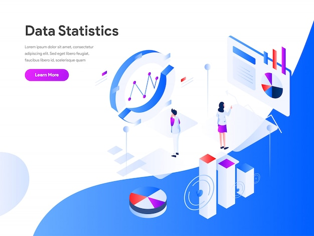 Gegevensstatistieken isometrische webbanner Premium Vector