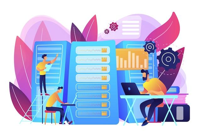 Gegevenswetenschapper, gegevensanalysemanager, databaseontwikkelaar en beheerder aan het werk. big data-baan, database-ontwikkelaars, carrières in big data-concept. heldere levendige violet geïsoleerde illustratie Gratis Vector