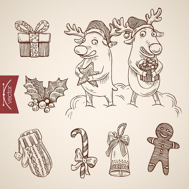 Gegraveerde kerst illustratie Gratis Vector