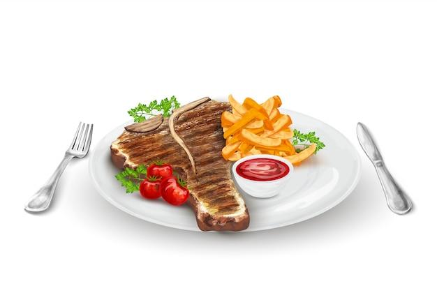 Gegrilde biefstuk op plaat Gratis Vector