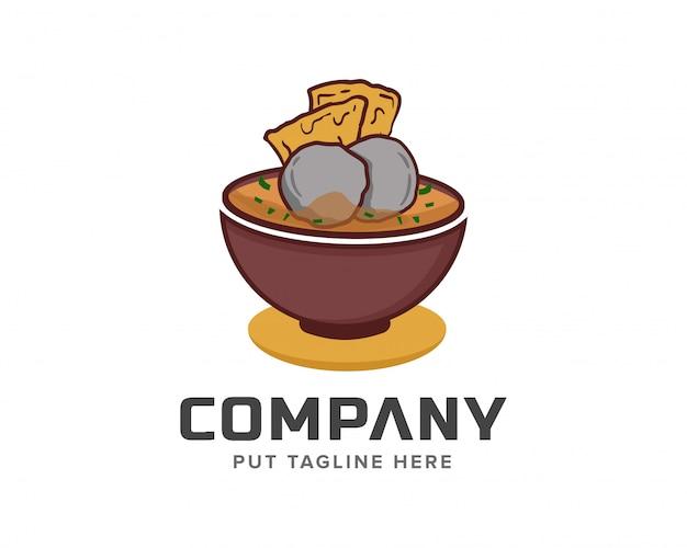 Gehaktbal bakso chef-kok logo sjabloon vectorillustratie Premium Vector