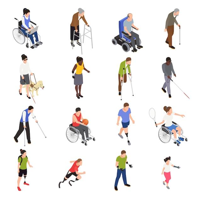 Gehandicapte gewonden buitenactiviteiten isometrische pictogrammen instellen met sportieve ledematen geamputeerden die rolstoel gebruiken Gratis Vector