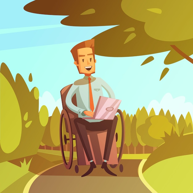 Gehandicapte man in rolstoel Gratis Vector