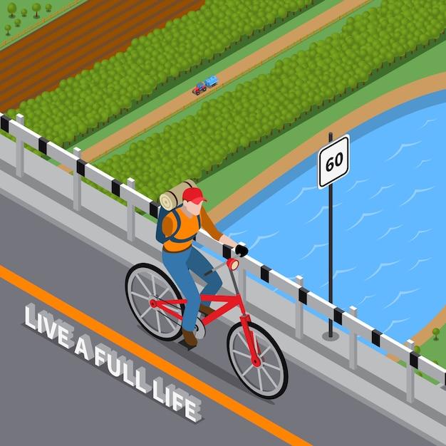 Gehandicapte persoon op fiets isometrische illustratie Gratis Vector