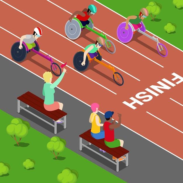 Gehandicapte sport. gehandicapte mensen racen in een competitie. isometrische vectorillustratie Premium Vector