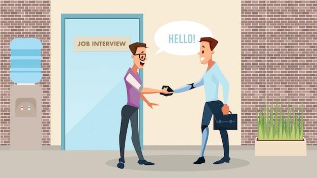 Gehandicapten nieuw job opportunity vector concept Premium Vector