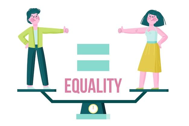 Geïllustreerd concept van gendergelijkheid Gratis Vector
