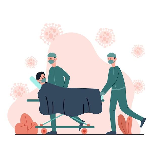 Geïllustreerd coronavirusconcept met patiënt in kritieke toestand Gratis Vector