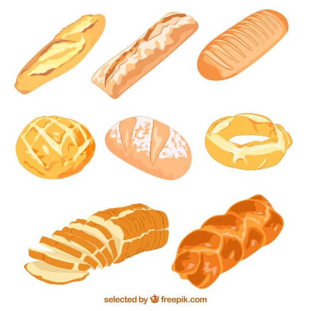 Geïllustreerd heerlijk brood Gratis Vector
