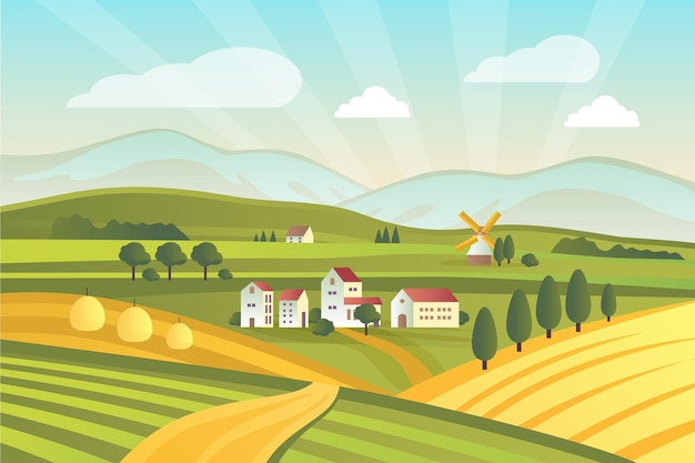 Geïllustreerd kleurrijk plattelandslandschap Gratis Vector