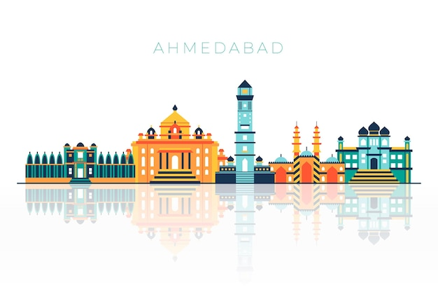 Geïllustreerde ahmedabad skyline met felle kleuren Gratis Vector