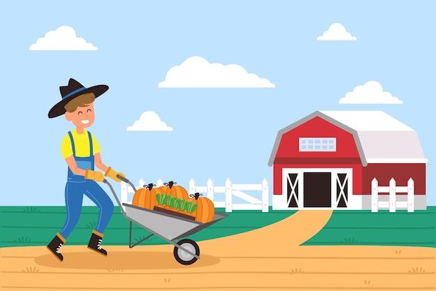 Geïllustreerde biologische landbouw concept Gratis Vector