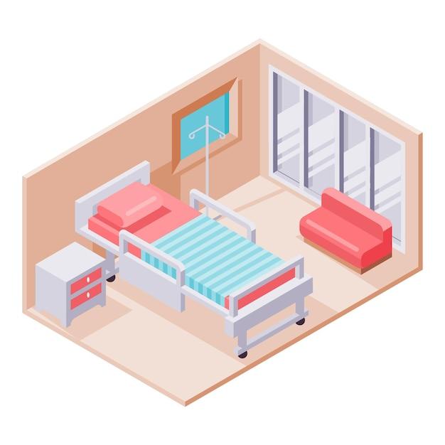 Geïllustreerde creatieve isometrische ziekenhuiskamer Gratis Vector