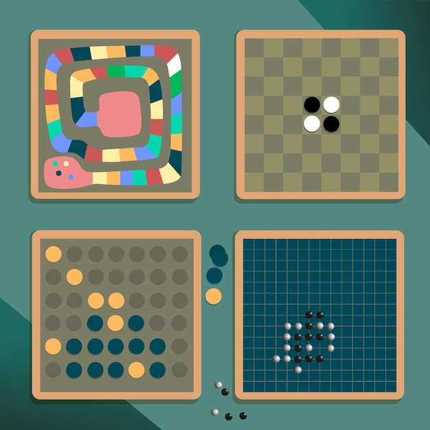 Geïllustreerde diverse verzameling bordspellen Gratis Vector