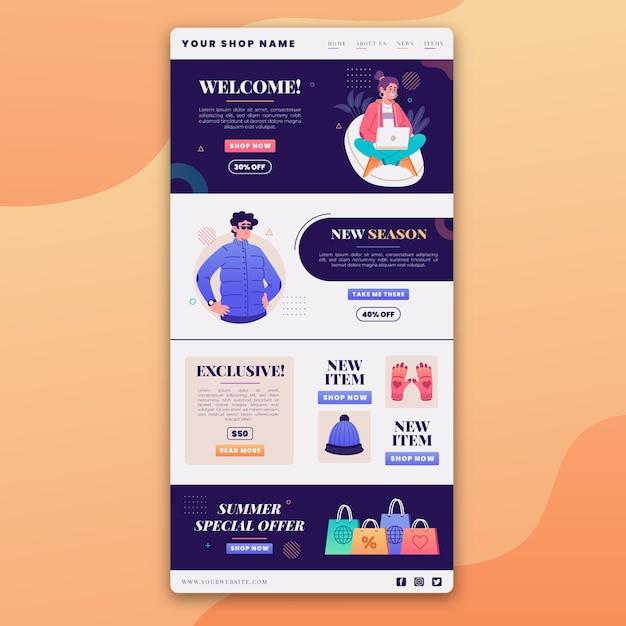 Geïllustreerde e-mailsjabloon voor creatieve e-commerce Gratis Vector