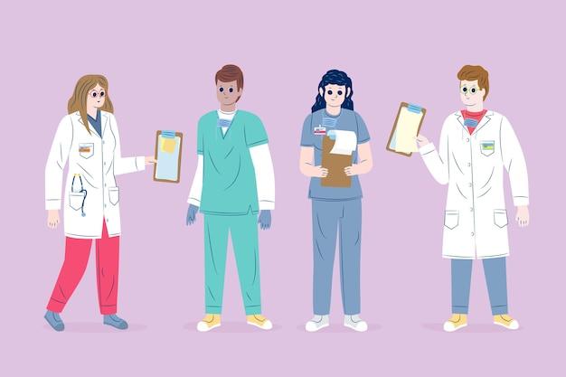 Geïllustreerde gezondheidswerker team Gratis Vector