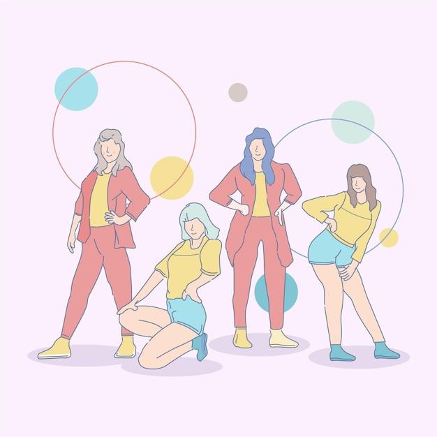 Geïllustreerde k-pop meidengroep Gratis Vector