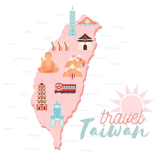 Geïllustreerde kaart van taiwan met bleke kleuren Premium Vector