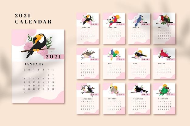 Geïllustreerde kalendersjabloon voor 2021 Gratis Vector