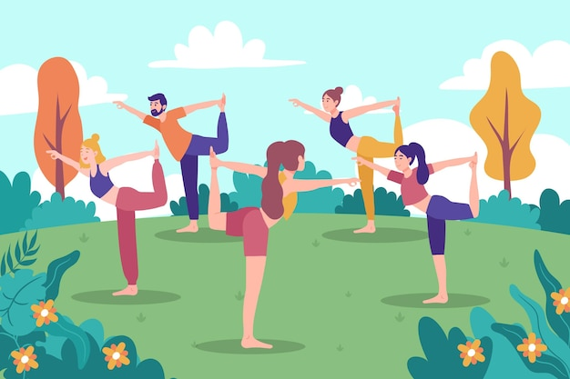 Geïllustreerde mensen die buiten yoga doen Gratis Vector