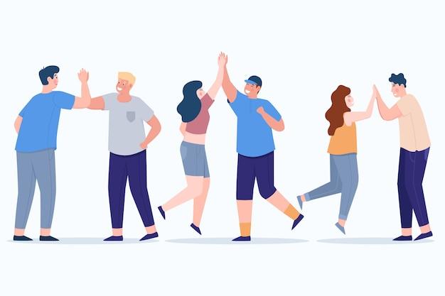 Geïllustreerde mensen die high five geven Gratis Vector