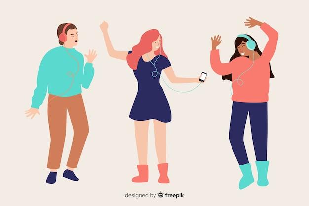 Geïllustreerde mensen die muziek luisteren op hun oortelefoons Gratis Vector