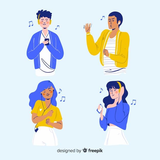 Geïllustreerde mensen die muziek luisteren op hun oortelefoonspak Gratis Vector