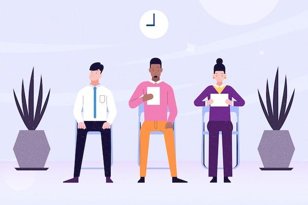 Geïllustreerde mensen die wachten op een sollicitatiegesprek Gratis Vector