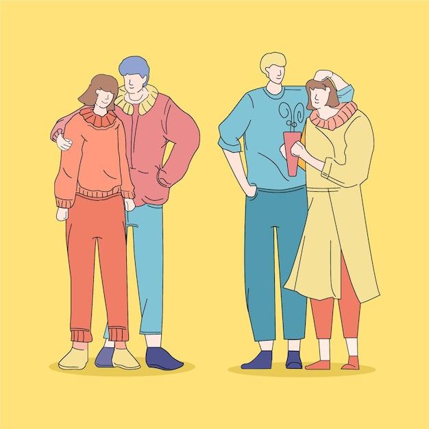 Geïllustreerde mode jonge koreanen mensen Gratis Vector