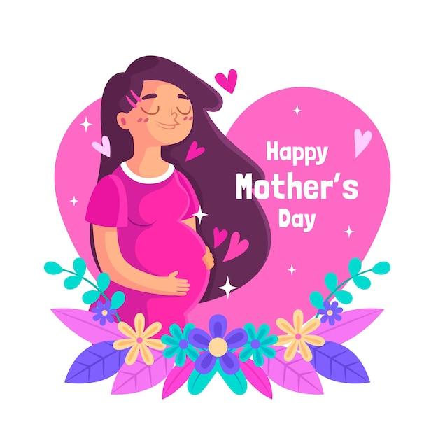Geïllustreerde moederdag evenement Gratis Vector