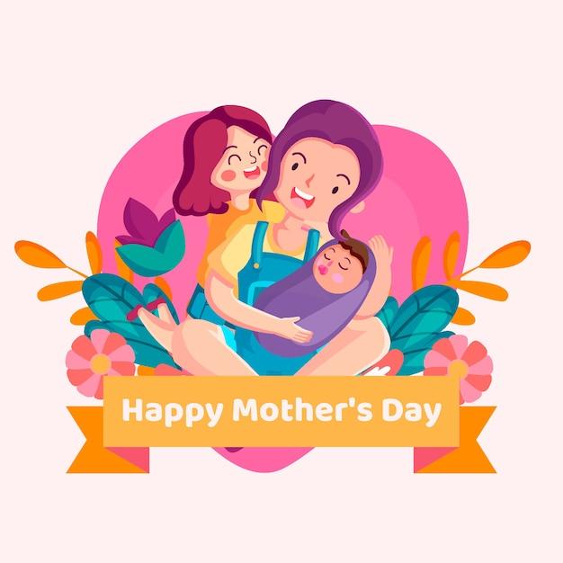 Geïllustreerde moederdagviering Gratis Vector