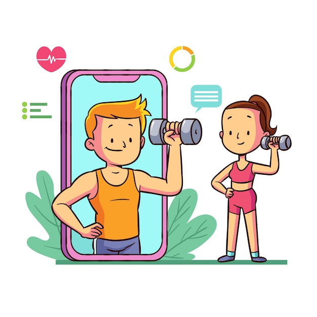 Geïllustreerde online personal trainer Gratis Vector